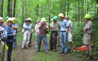 Workshop participants learn how to measure road grade with an Abney level. Photo by Randy Fowler, U.S. Forest Service.