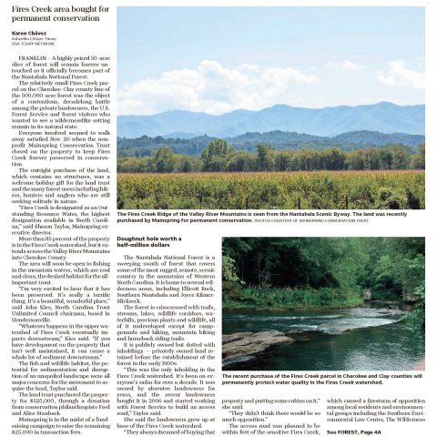 Asheville Citizen-Times: Nantahala National Forest Grows With Protected Land