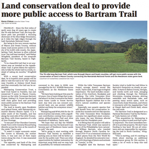 Asheville Citizen-Times: Land trust conserves key property in Macon County, provides public access to Bartram Trail