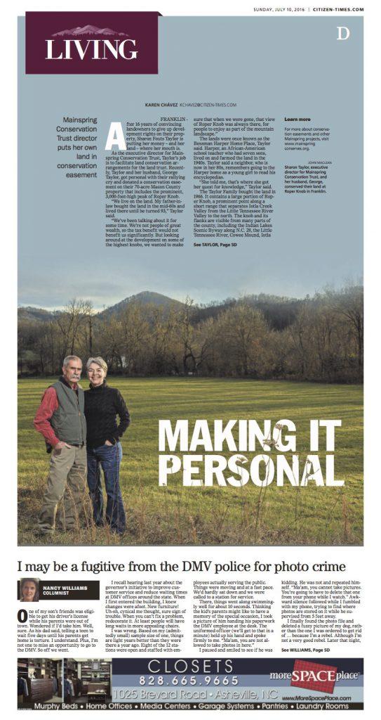 AshevilleCitizen-Times_Taylor Easement Story cover
